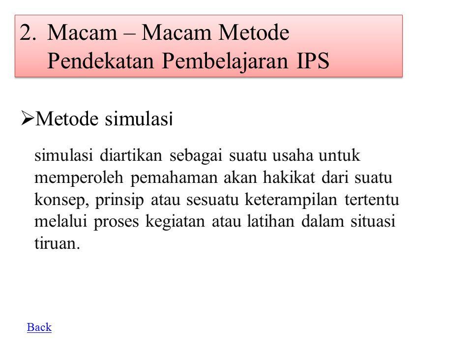 2.Macam – Macam Metode Pendekatan Pembelajaran IPS  Metode simulas i simulasi diartikan sebagai suatu usaha untuk memperoleh pemahaman akan hakikat d