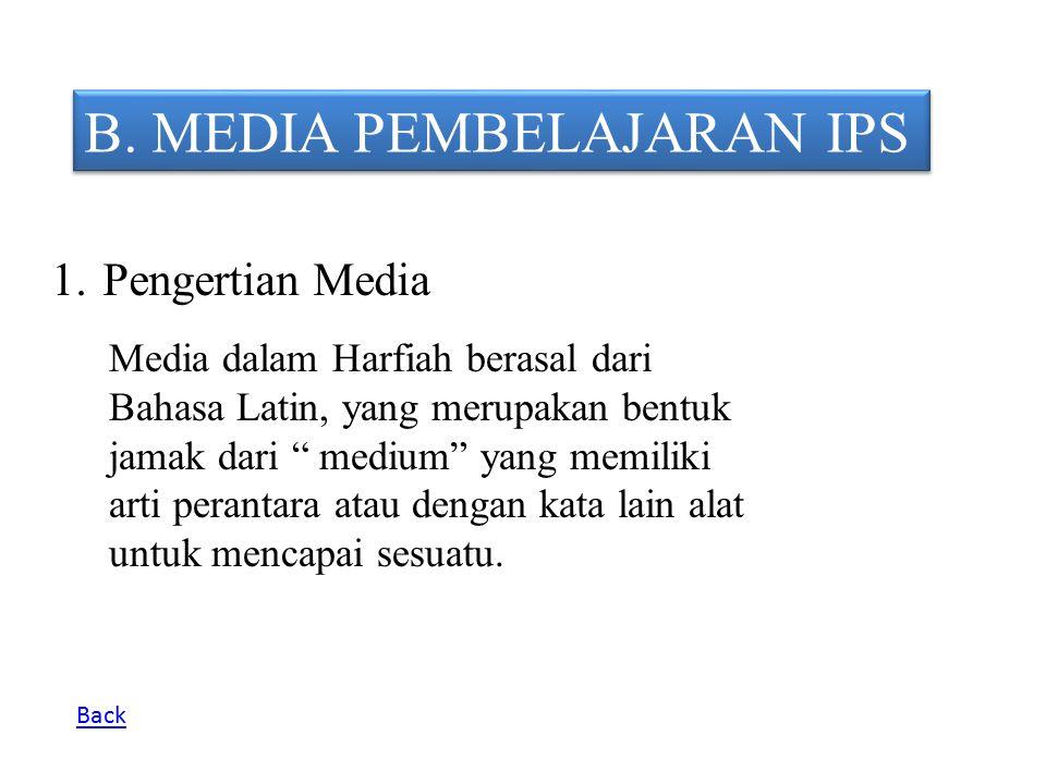 """B. MEDIA PEMBELAJARAN IPS 1. Pengertian Media Media dalam Harfiah berasal dari Bahasa Latin, yang merupakan bentuk jamak dari """" medium"""" yang memiliki"""