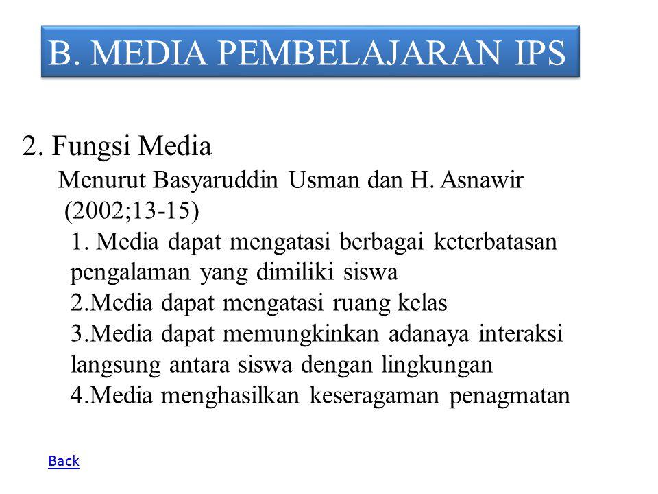 B. MEDIA PEMBELAJARAN IPS 2. Fungsi Media Menurut Basyaruddin Usman dan H. Asnawir (2002;13-15) 1. Media dapat mengatasi berbagai keterbatasan pengala