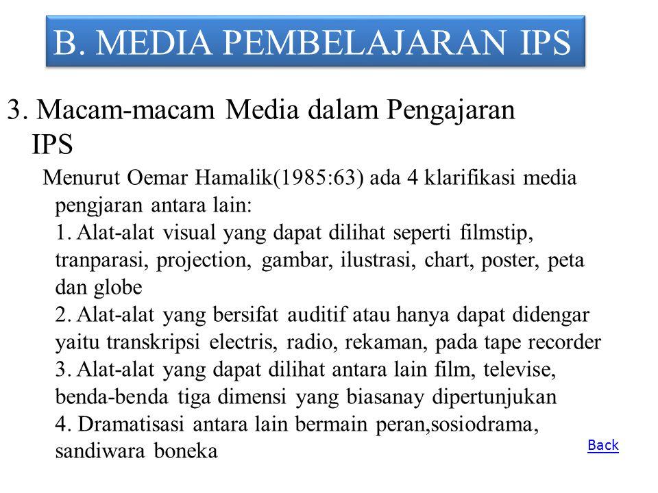 B. MEDIA PEMBELAJARAN IPS 3. Macam-macam Media dalam Pengajaran IPS Menurut Oemar Hamalik(1985:63) ada 4 klarifikasi media pengjaran antara lain: 1. A