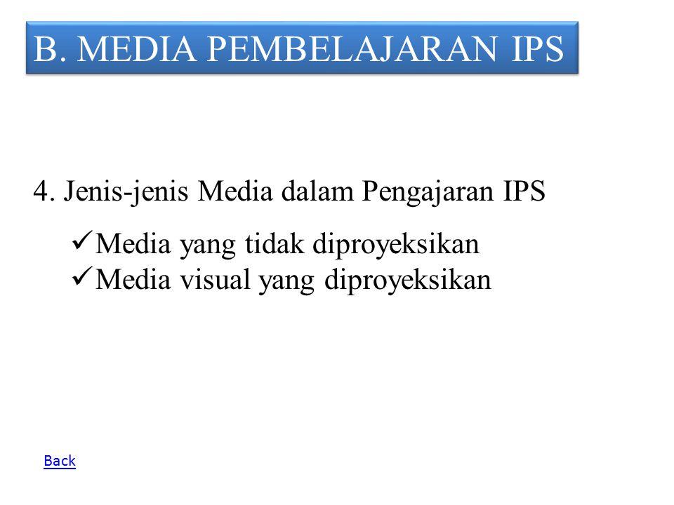 B. MEDIA PEMBELAJARAN IPS 4. Jenis-jenis Media dalam Pengajaran IPS M edia yang tidak diproyeksikan M edia visual yang diproyeksikan Back