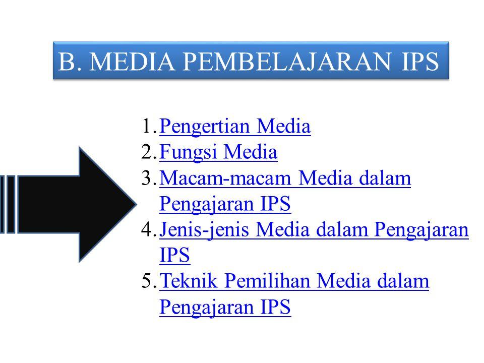B. MEDIA PEMBELAJARAN IPS 1.Pengertian MediaPengertian Media 2.Fungsi MediaFungsi Media 3.Macam-macam Media dalam Pengajaran IPSMacam-macam Media dala