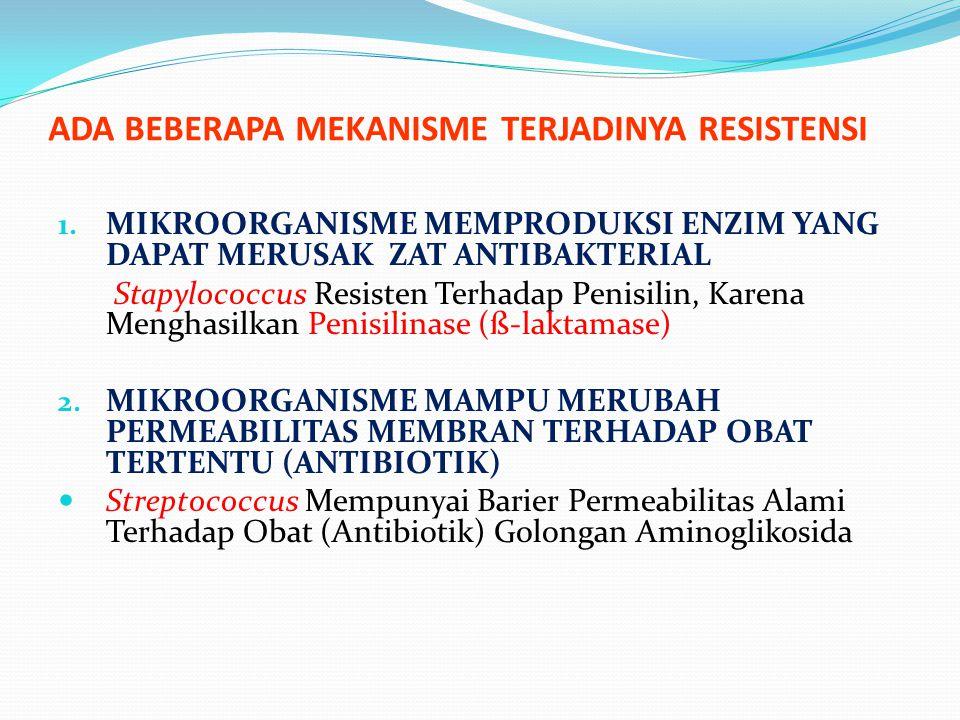 ADA BEBERAPA MEKANISME TERJADINYA RESISTENSI 1. MIKROORGANISME MEMPRODUKSI ENZIM YANG DAPAT MERUSAK ZAT ANTIBAKTERIAL Stapylococcus Resisten Terhadap