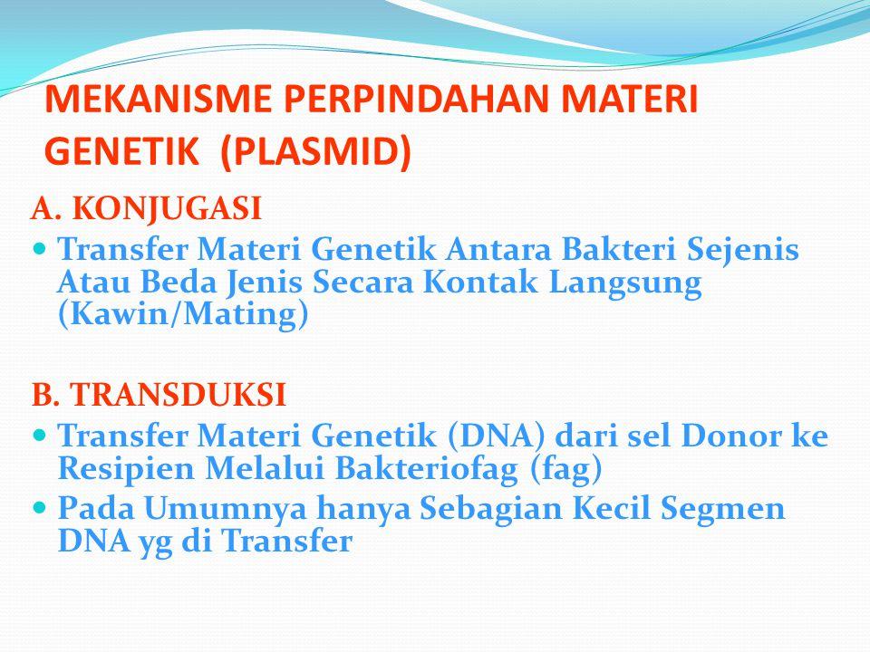 MEKANISME PERPINDAHAN MATERI GENETIK (PLASMID) A. KONJUGASI Transfer Materi Genetik Antara Bakteri Sejenis Atau Beda Jenis Secara Kontak Langsung (Kaw