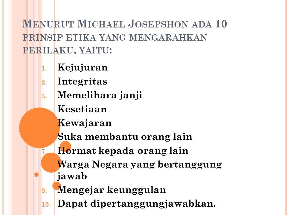 M ENURUT M ICHAEL J OSEPSHON ADA 10 PRINSIP ETIKA YANG MENGARAHKAN PERILAKU, YAITU : 1.