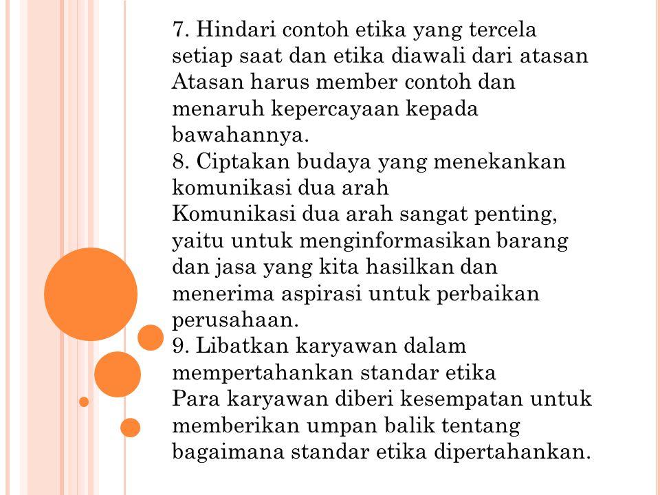 7. Hindari contoh etika yang tercela setiap saat dan etika diawali dari atasan Atasan harus member contoh dan menaruh kepercayaan kepada bawahannya. 8