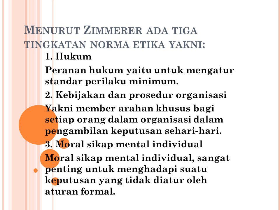 M ENURUT Z IMMERER, KERANGKA KERJA ETIKA DAPAT DIKEMBANGKAN MELALUI EMPAT TAHAP : Tahap pertama, mengakui dimensi- dimensi etika yang ada sebagai suatu alternative atau keputusan.