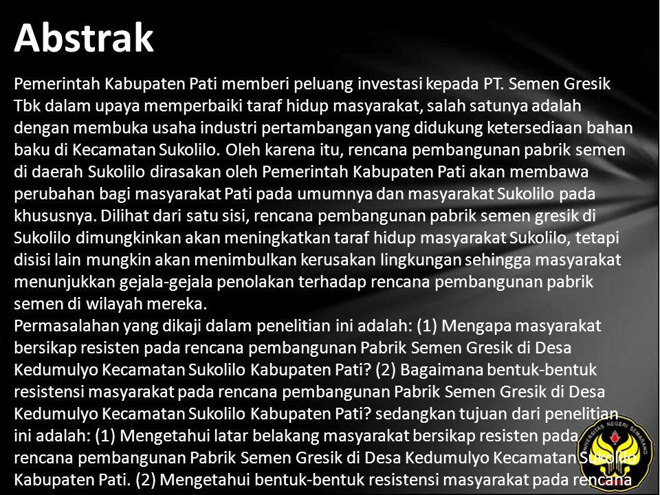 Abstrak Pemerintah Kabupaten Pati memberi peluang investasi kepada PT.