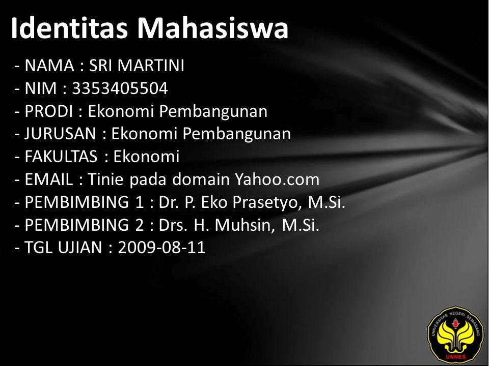 Identitas Mahasiswa - NAMA : SRI MARTINI - NIM : 3353405504 - PRODI : Ekonomi Pembangunan - JURUSAN : Ekonomi Pembangunan - FAKULTAS : Ekonomi - EMAIL