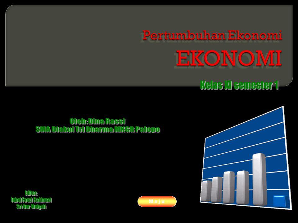 www.themegallery.com Company Logo Materi : (Lanjutan) Untuk mengukur Pertumbuhan Ekonomi atau economic growth dapat digunakan rumus : Pertumbuhan ekonomi tahun tertentu = x 100% Atau Pertumbuhan ekonomi tahun t = X 100% Dimana : PNB rt = pendapatan nasional riil pada tahun t PNB rt-1 = pendapatan nasional riil pada tahun t-1 M a j u