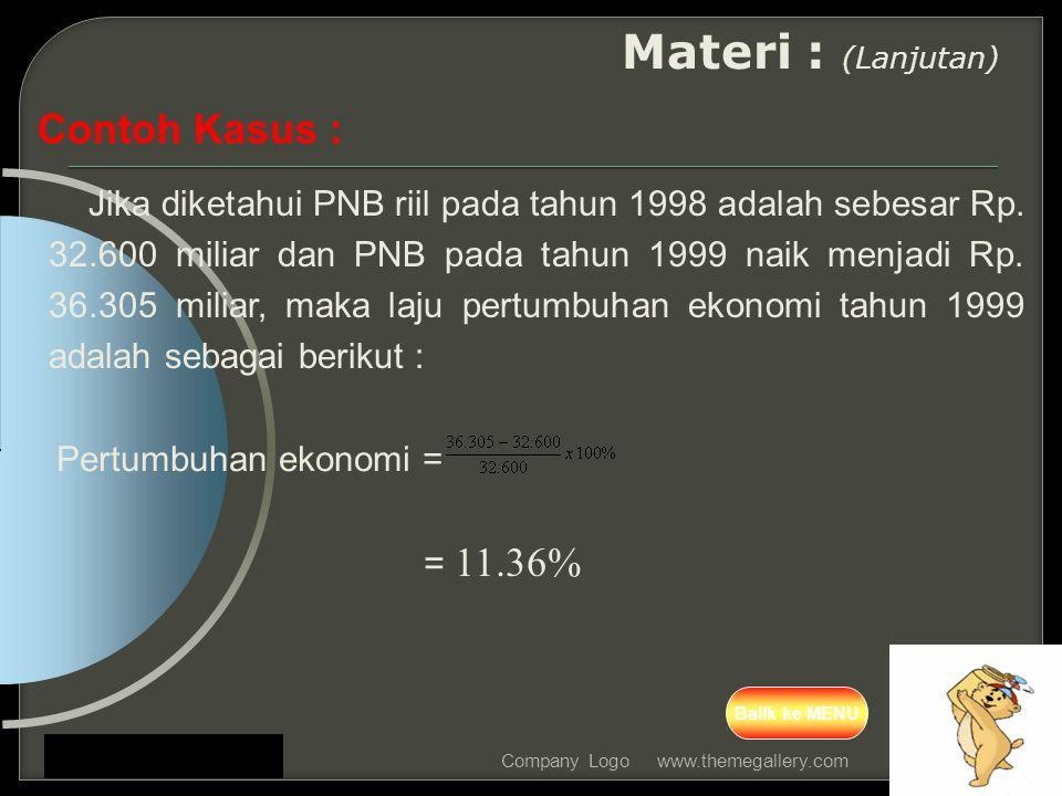 www.themegallery.comCompany Logo Materi : (Lanjutan) Contoh Kasus : Jika diketahui PNB riil pada tahun 1998 adalah sebesar Rp. 32.600 miliar dan PNB p