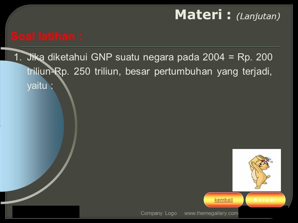 www.themegallery.comCompany Logo Materi : (Lanjutan) Soal latihan : 1.Jika diketahui GNP suatu negara pada 2004 = Rp. 200 triliun-Rp. 250 triliun, bes