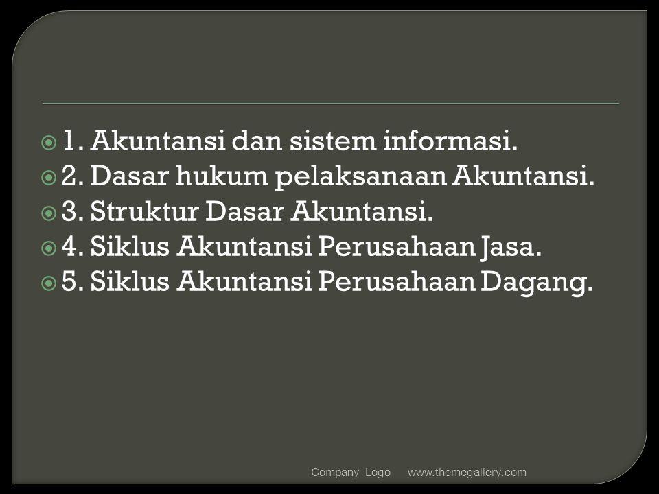  1. Akuntansi dan sistem informasi.  2. Dasar hukum pelaksanaan Akuntansi.  3. Struktur Dasar Akuntansi.  4. Siklus Akuntansi Perusahaan Jasa.  5