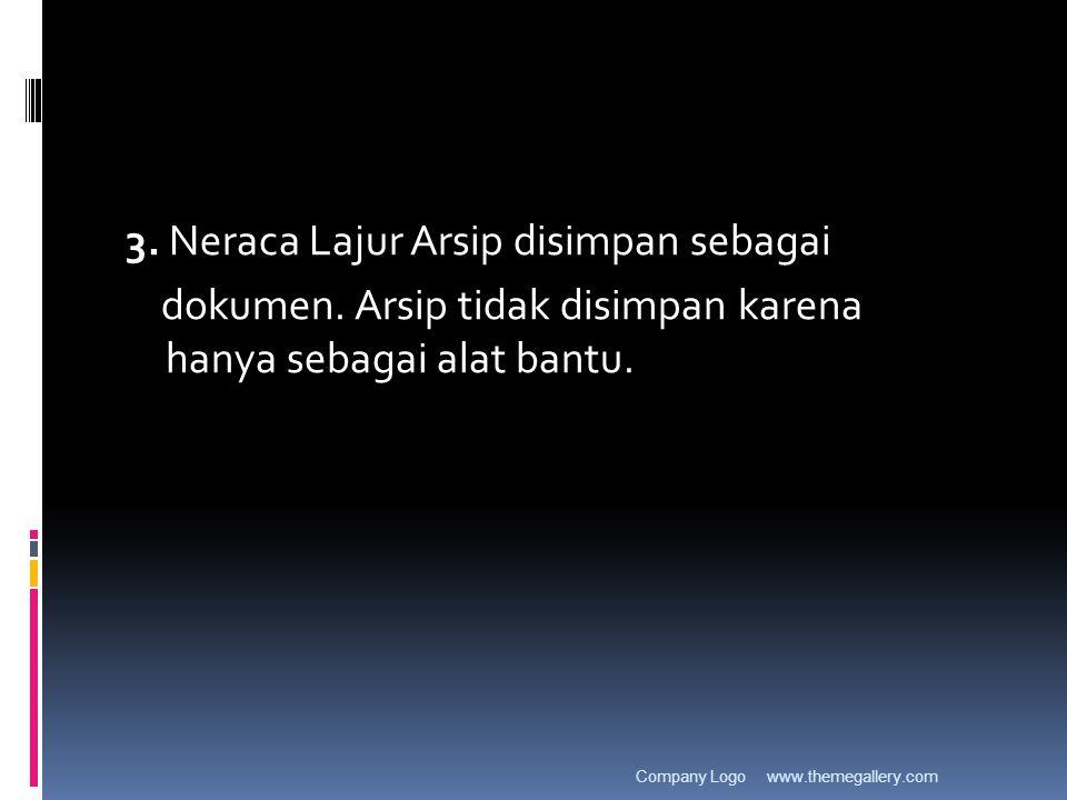 3. Neraca Lajur Arsip disimpan sebagai dokumen. Arsip tidak disimpan karena hanya sebagai alat bantu. www.themegallery.comCompany Logo