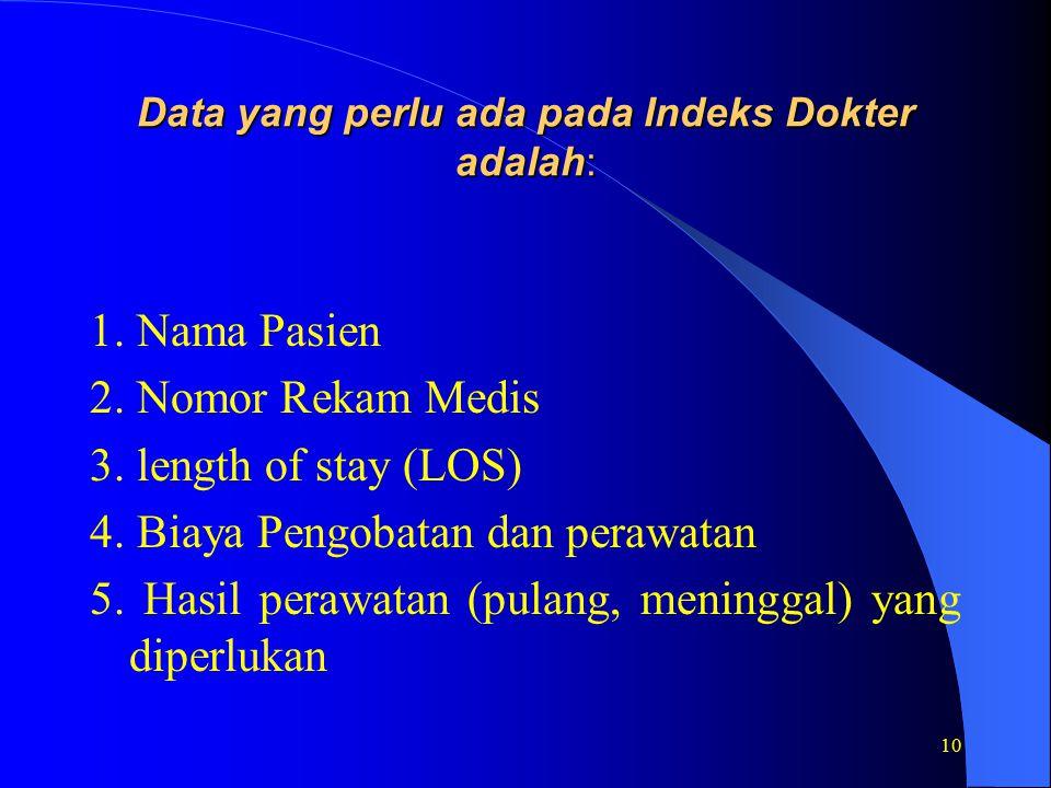 10 Data yang perlu ada pada Indeks Dokter adalah: 1.