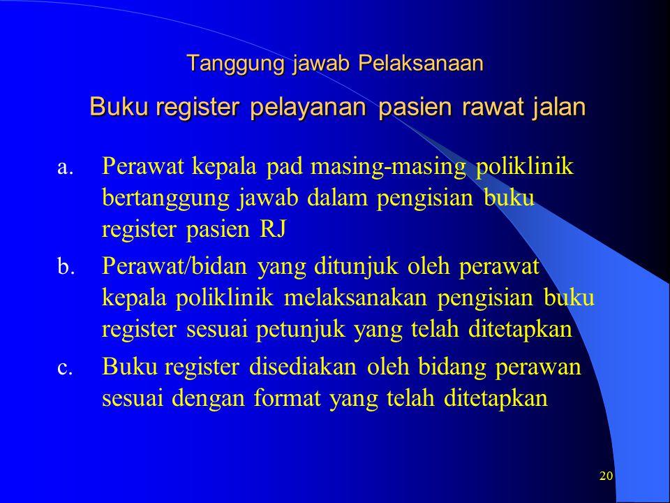20 Tanggung jawab Pelaksanaan Buku register pelayanan pasien rawat jalan a.