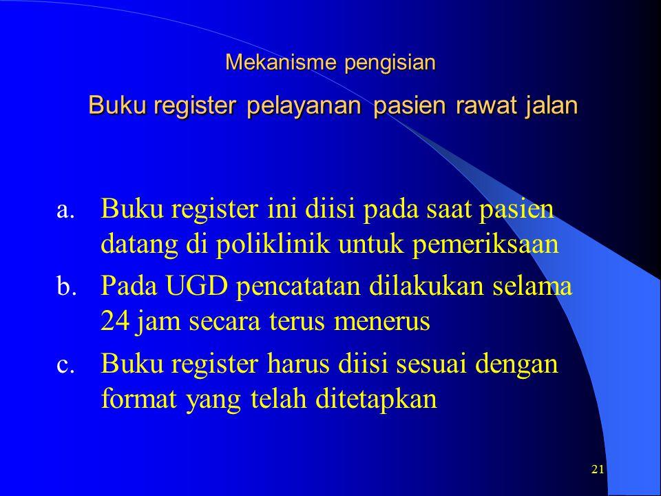 21 Mekanisme pengisian Buku register pelayanan pasien rawat jalan a.