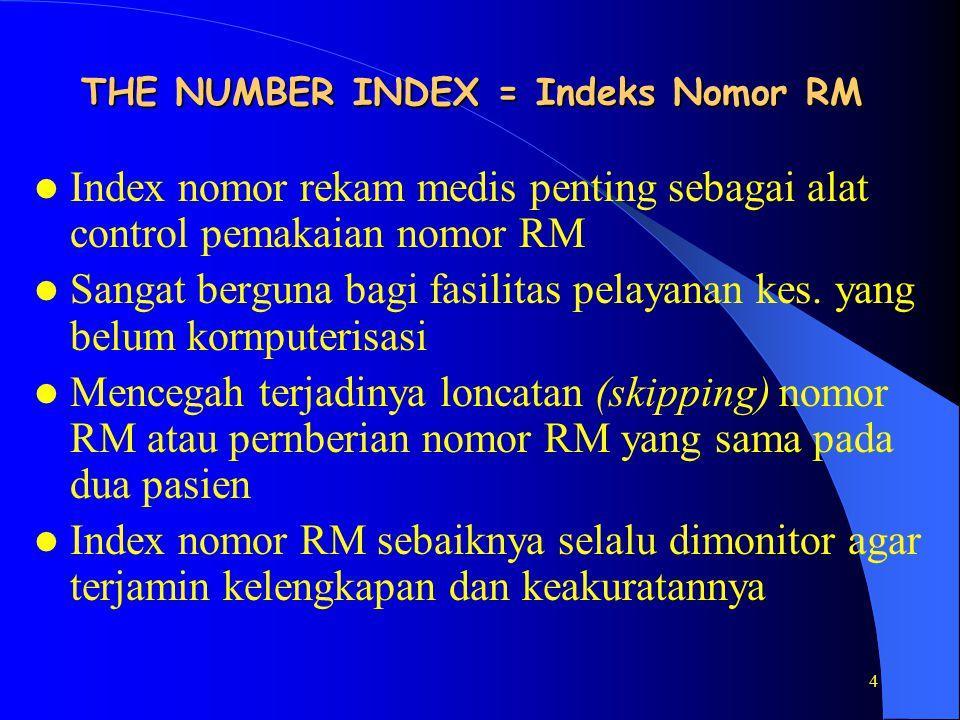 4 THE NUMBER INDEX = Indeks Nomor RM Index nomor rekam medis penting sebagai alat control pemakaian nomor RM Sangat berguna bagi fasilitas pelayanan kes.