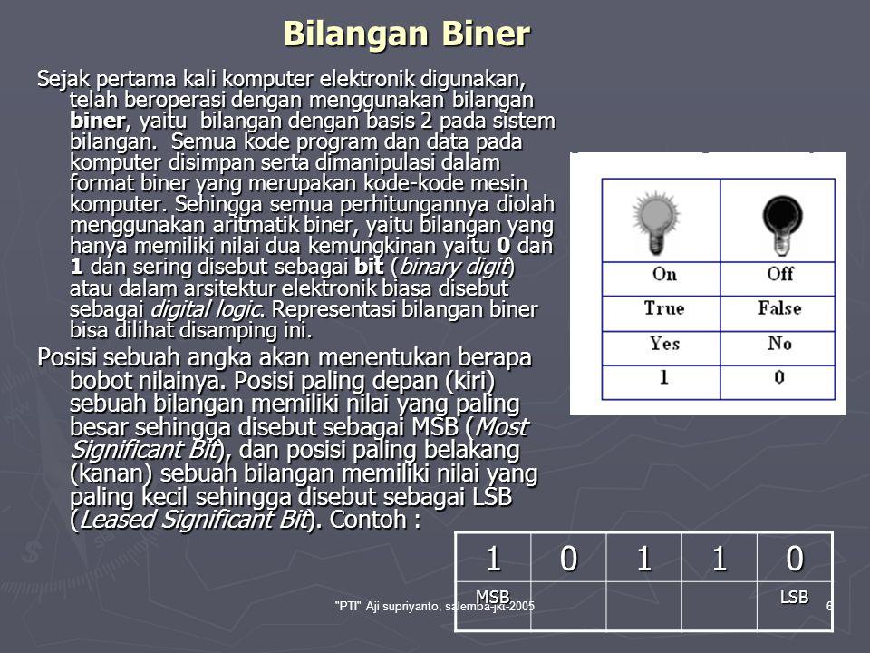 PTI Aji supriyanto, salemba-jkt-200517 Konversi Bilangan Biner Untuk mencari nilai konversi bilangan biner ke bilangan desimal, merupakan kebalikan dari cara a) diatas.
