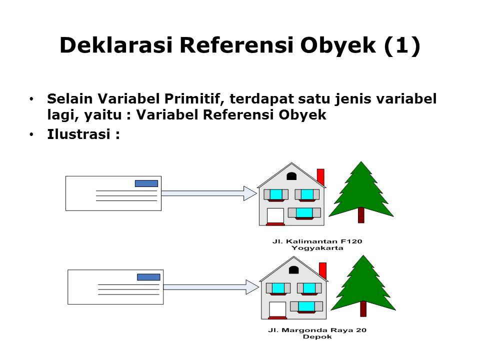 Deklarasi Referensi Obyek (1) Selain Variabel Primitif, terdapat satu jenis variabel lagi, yaitu : Variabel Referensi Obyek Ilustrasi :