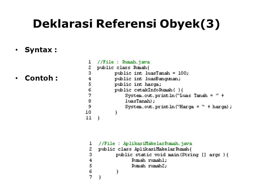 Penggunaan '==' dan Method equals( ) untuk Membandingkan dua buah String Penggunaan '==' : lebih menekankan apakah kedua obyek String tersebut menunjuk ke string literal yang sama Penggunaan method equals () : lebih menekankan apakah representasi karakter kedua String sama atau tidak