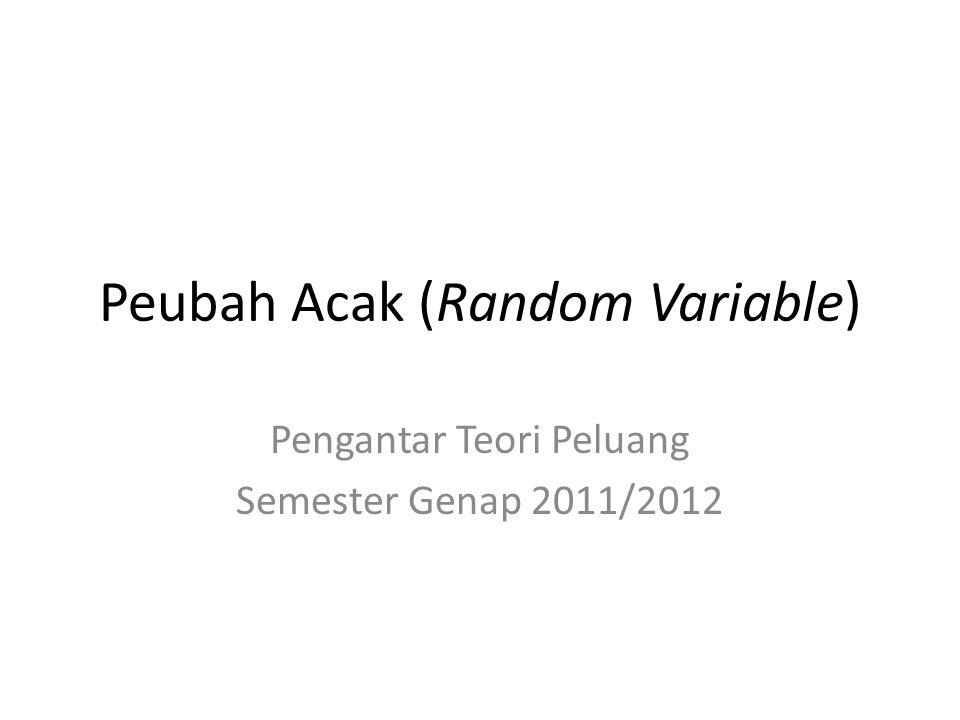 Peubah Acak (Random Variable) Pengantar Teori Peluang Semester Genap 2011/2012