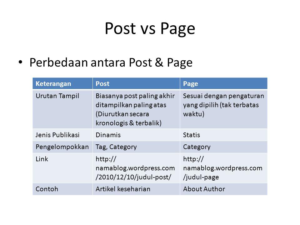Post vs Page Perbedaan antara Post & Page KeteranganPostPage Urutan TampilBiasanya post paling akhir ditampilkan paling atas (Diurutkan secara kronolo