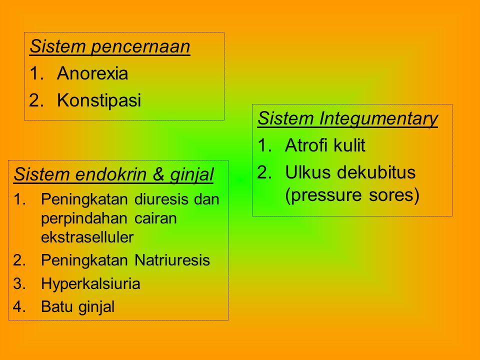 Sistem skelet 1.Osteoporosis 2.Fibrosis dan yang jarang ankylosis sendi Sistem Pernafasan 1.Penurunan VC 2.Penurunan ventilasi voluntary maksimum 3.Pe