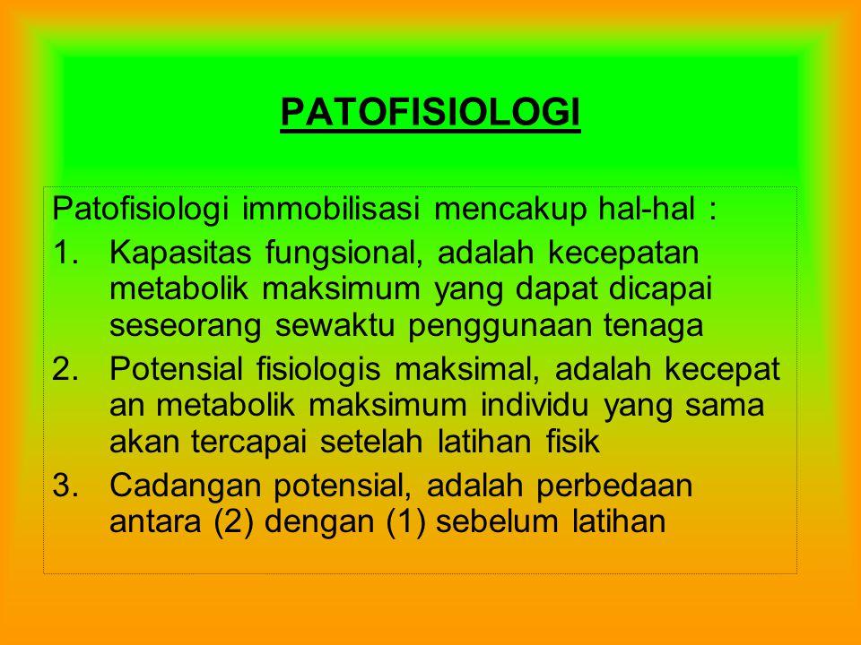 PATOFISIOLOGI Patofisiologi immobilisasi mencakup hal-hal : 1.Kapasitas fungsional, adalah kecepatan metabolik maksimum yang dapat dicapai seseorang sewaktu penggunaan tenaga 2.Potensial fisiologis maksimal, adalah kecepat an metabolik maksimum individu yang sama akan tercapai setelah latihan fisik 3.Cadangan potensial, adalah perbedaan antara (2) dengan (1) sebelum latihan