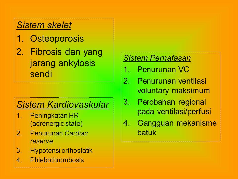 Penatalaksanaan Intake nutrisi dan cairan yang adekwat adalah pro pilaksis utama untuk mencegah komplikasi meta bolik dan saluran cerna pada immobilisasi Intake kalori mesti disesuaikan dengan kebutuhan metabolik pasien tirah baring Intake kalori yang berlebihan jarang karena pasien yang tidak aktif seleranya terganggu Diet mesti mengandung serat yang tinggi untuk me mudahkan gerakan b a b Pelunak b a b, seperti Dioctyl Sodium Sulfosucci nate akan menolong mencegah konstipasi dan pen gerasan b a b