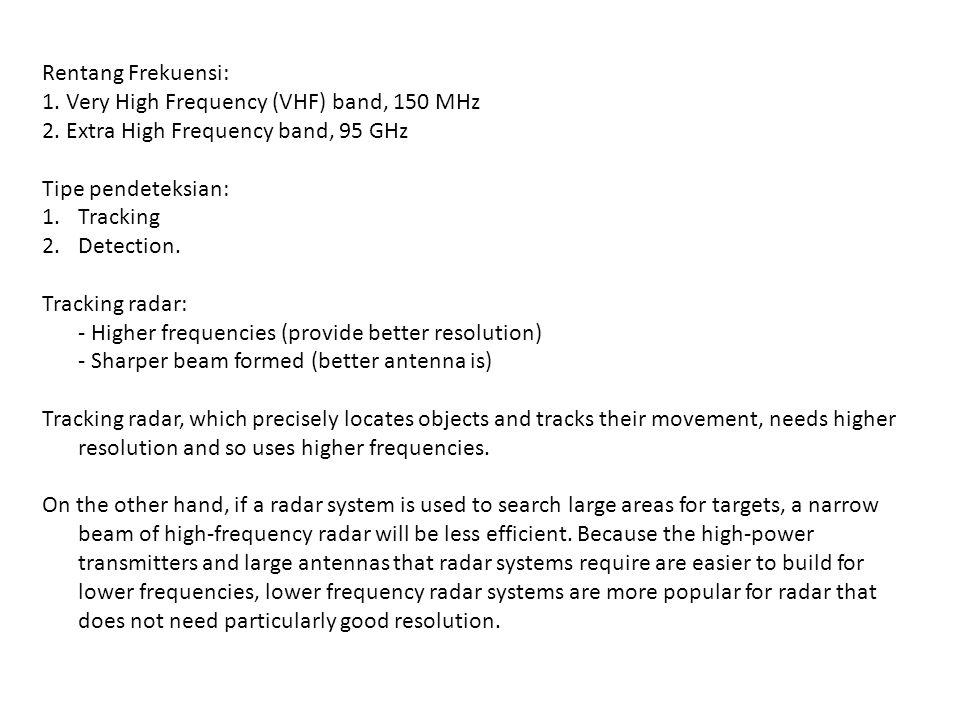 Rentang Frekuensi: 1.Very High Frequency (VHF) band, 150 MHz 2.