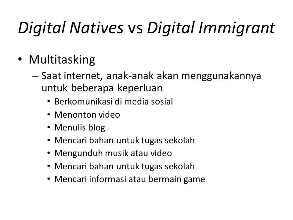 Digital Natives vs Digital Immigrant Multitasking – Saat internet, anak-anak akan menggunakannya untuk beberapa keperluan Berkomunikasi di media sosia