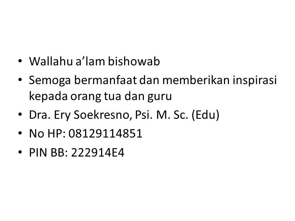 Wallahu a'lam bishowab Semoga bermanfaat dan memberikan inspirasi kepada orang tua dan guru Dra. Ery Soekresno, Psi. M. Sc. (Edu) No HP: 08129114851 P