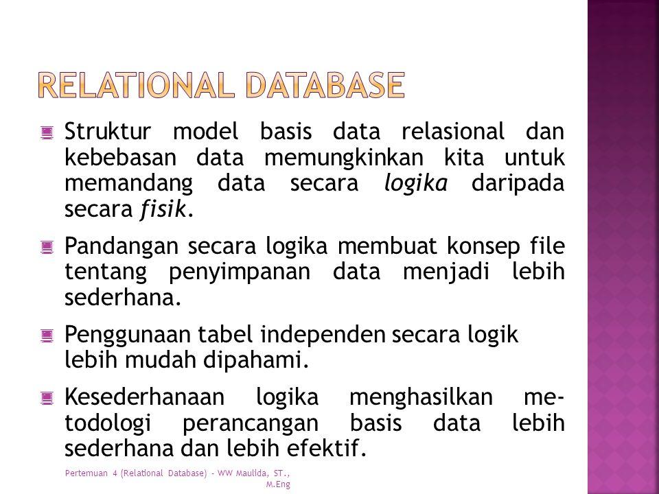  Struktur model basis data relasional dan kebebasan data memungkinkan kita untuk memandang data secara logika daripada secara fisik.  Pandangan seca