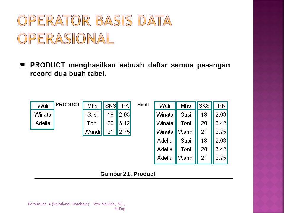  PRODUCT menghasilkan sebuah daftar semua pasangan record dua buah tabel. Gambar 2.8. Product PRODUCT Hasil Pertemuan 4 (Relational Database) - WW Ma