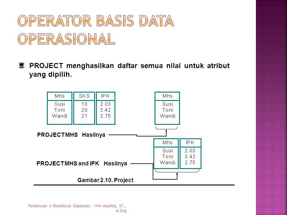  PROJECT menghasilkan daftar semua nilai untuk atribut yang dipilih. Gambar 2.10. Project PROJECT MHS Hasilnya PROJECT MHS and IPK Hasilnya Pertemuan