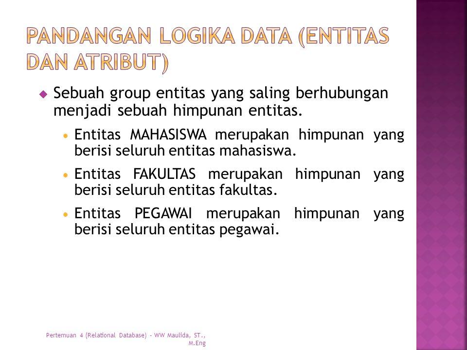  Sebuah group entitas yang saling berhubungan menjadi sebuah himpunan entitas.  Entitas MAHASISWA merupakan himpunan yang berisi seluruh entitas mah
