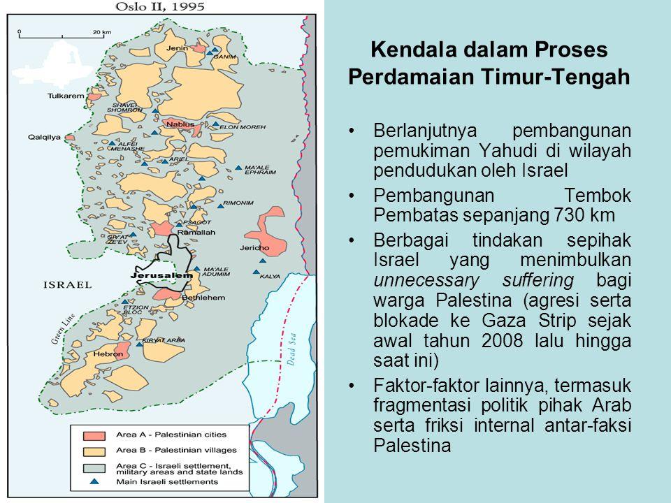 Berlanjutnya pembangunan pemukiman Yahudi di wilayah pendudukan oleh Israel Pembangunan Tembok Pembatas sepanjang 730 km Berbagai tindakan sepihak Israel yang menimbulkan unnecessary suffering bagi warga Palestina (agresi serta blokade ke Gaza Strip sejak awal tahun 2008 lalu hingga saat ini) Faktor-faktor lainnya, termasuk fragmentasi politik pihak Arab serta friksi internal antar-faksi Palestina Kendala dalam Proses Perdamaian Timur-Tengah