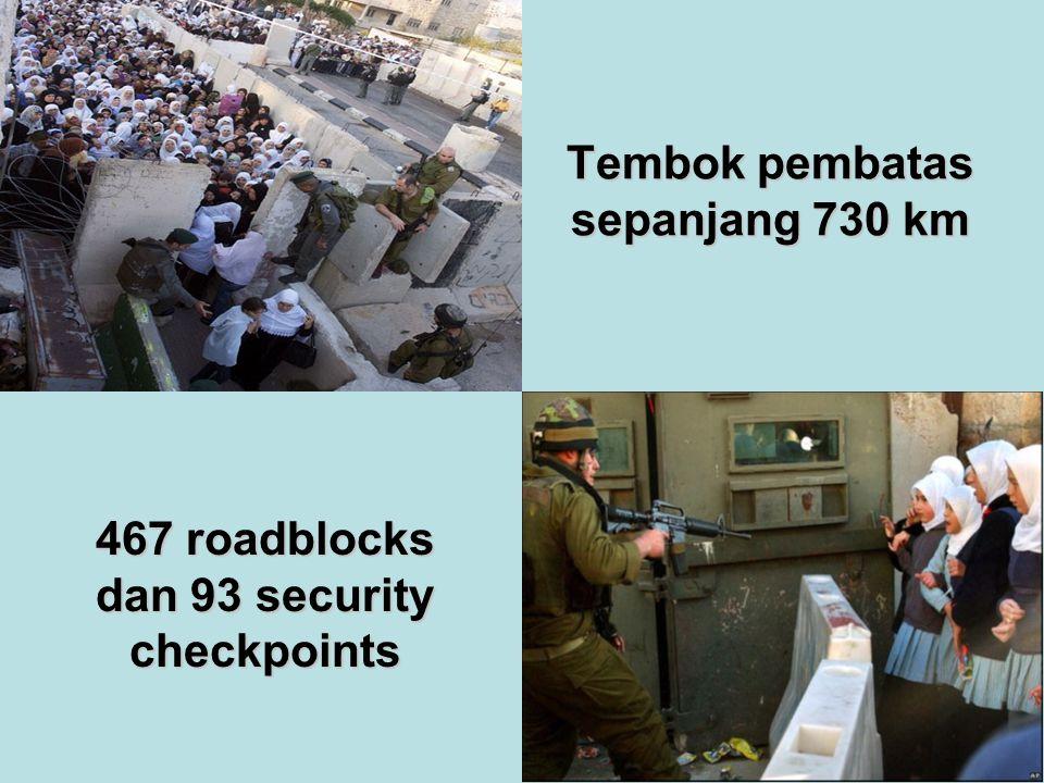 Tembok pembatas sepanjang 730 km 467 roadblocks dan 93 security checkpoints
