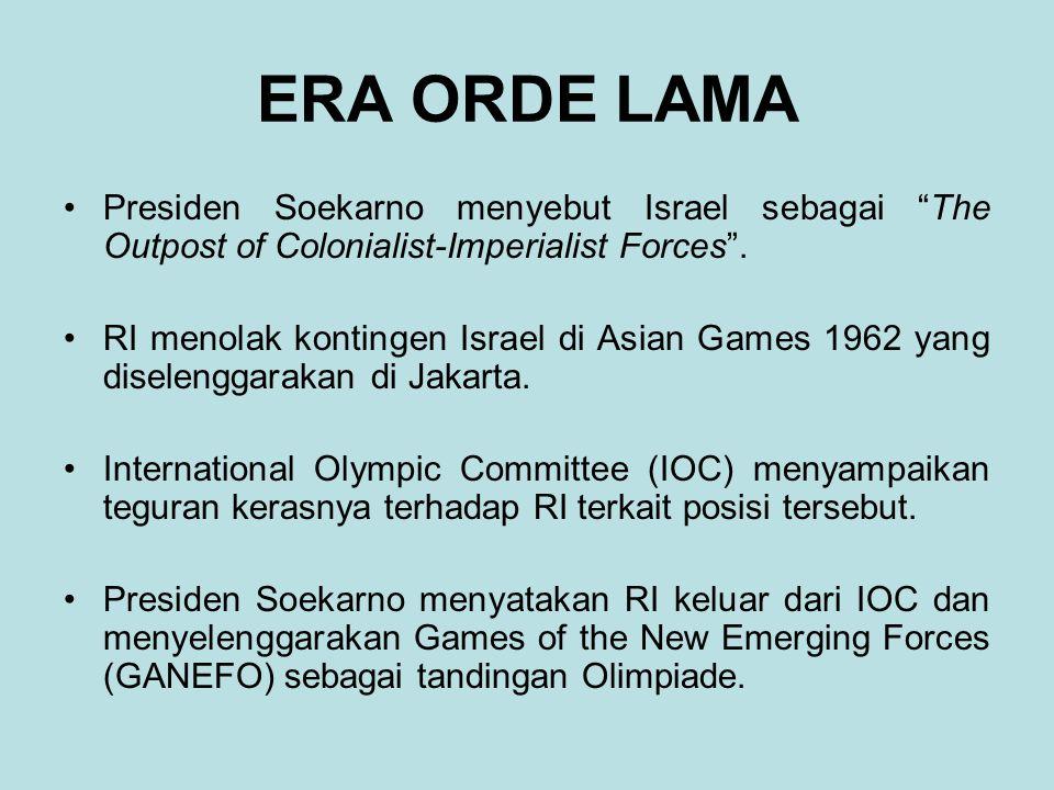 """ERA ORDE LAMA Presiden Soekarno menyebut Israel sebagai """"The Outpost of Colonialist-Imperialist Forces"""". RI menolak kontingen Israel di Asian Games 19"""