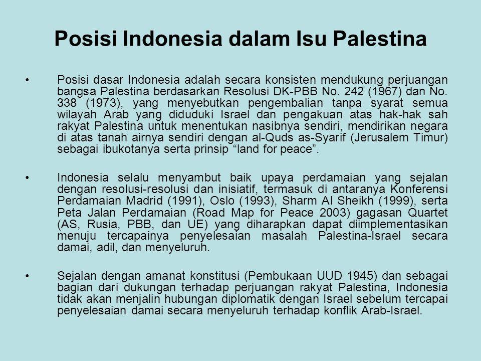 Posisi Indonesia dalam Isu Palestina Posisi dasar Indonesia adalah secara konsisten mendukung perjuangan bangsa Palestina berdasarkan Resolusi DK-PBB No.