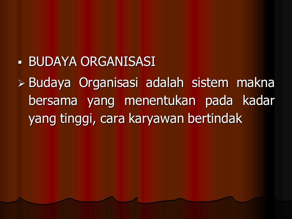  BUDAYA ORGANISASI  Budaya Organisasi adalah sistem makna bersama yang menentukan pada kadar yang tinggi, cara karyawan bertindak