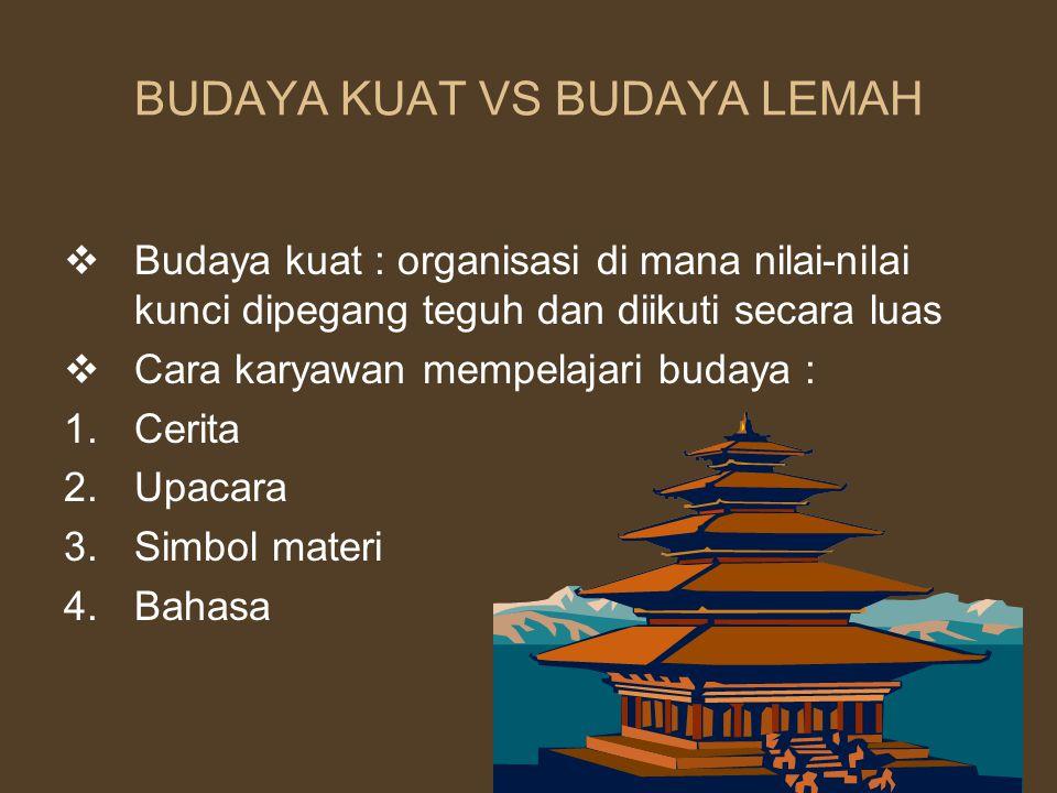 BUDAYA KUAT VS BUDAYA LEMAH  Budaya kuat : organisasi di mana nilai-nilai kunci dipegang teguh dan diikuti secara luas  Cara karyawan mempelajari bu