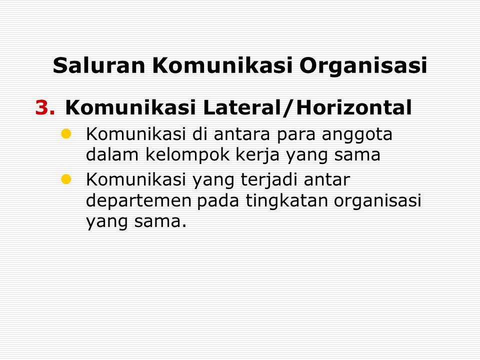 Saluran Komunikasi Organisasi 3.Komunikasi Lateral/Horizontal Komunikasi di antara para anggota dalam kelompok kerja yang sama Komunikasi yang terjadi antar departemen pada tingkatan organisasi yang sama.