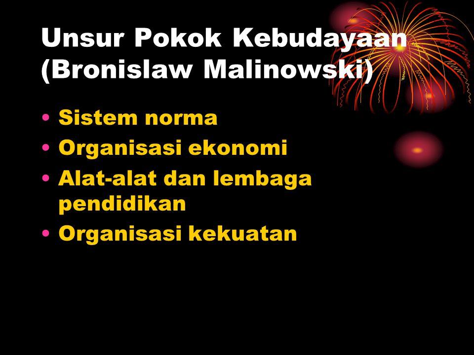 Unsur Pokok Kebudayaan (Bronislaw Malinowski) Sistem norma Organisasi ekonomi Alat-alat dan lembaga pendidikan Organisasi kekuatan