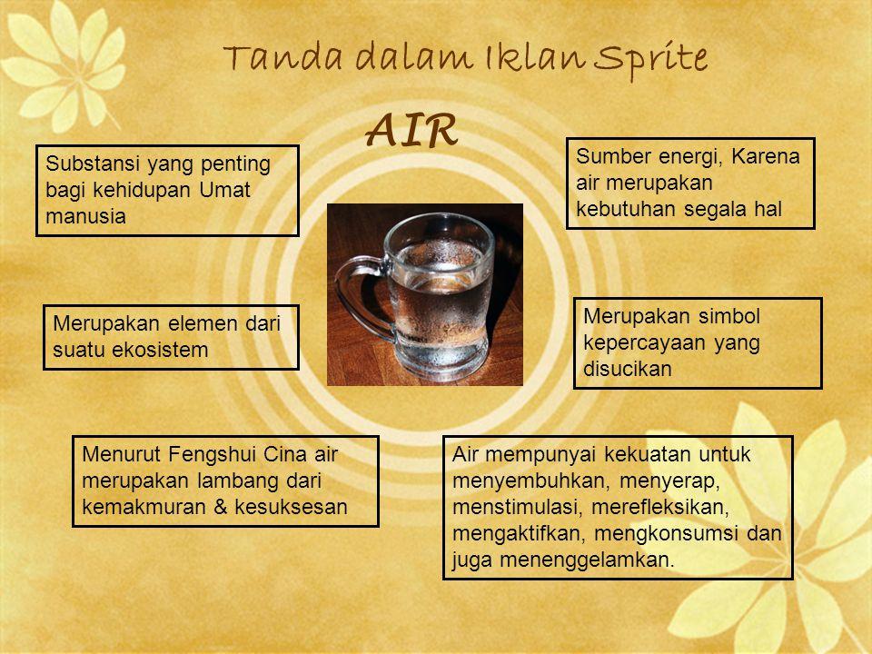 Tanda dalam Iklan Sprite AIR Substansi yang penting bagi kehidupan Umat manusia Sumber energi, Karena air merupakan kebutuhan segala hal Merupakan ele