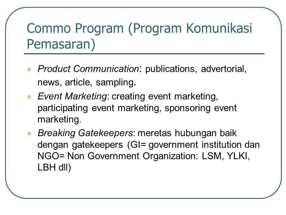 Commo Program (Program Komunikasi Pemasaran) Product Communication : publications, advertorial, news, article, sampling. Event Marketing: creating eve