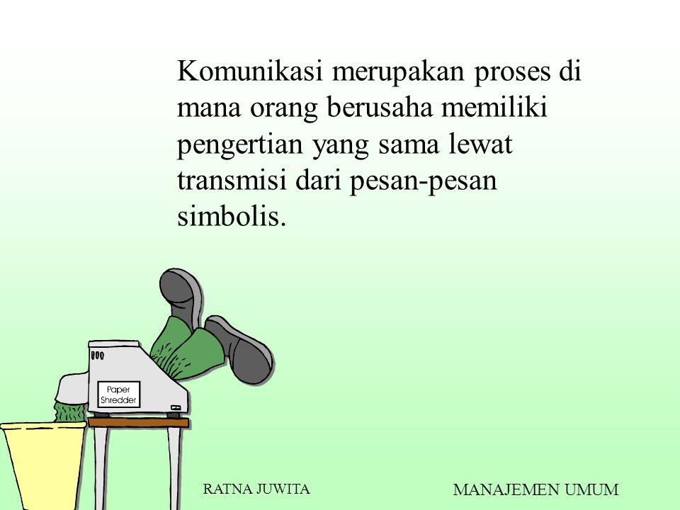 Komunikasi merupakan proses di mana orang berusaha memiliki pengertian yang sama lewat transmisi dari pesan-pesan simbolis. RATNA JUWITA MANAJEMEN UMU