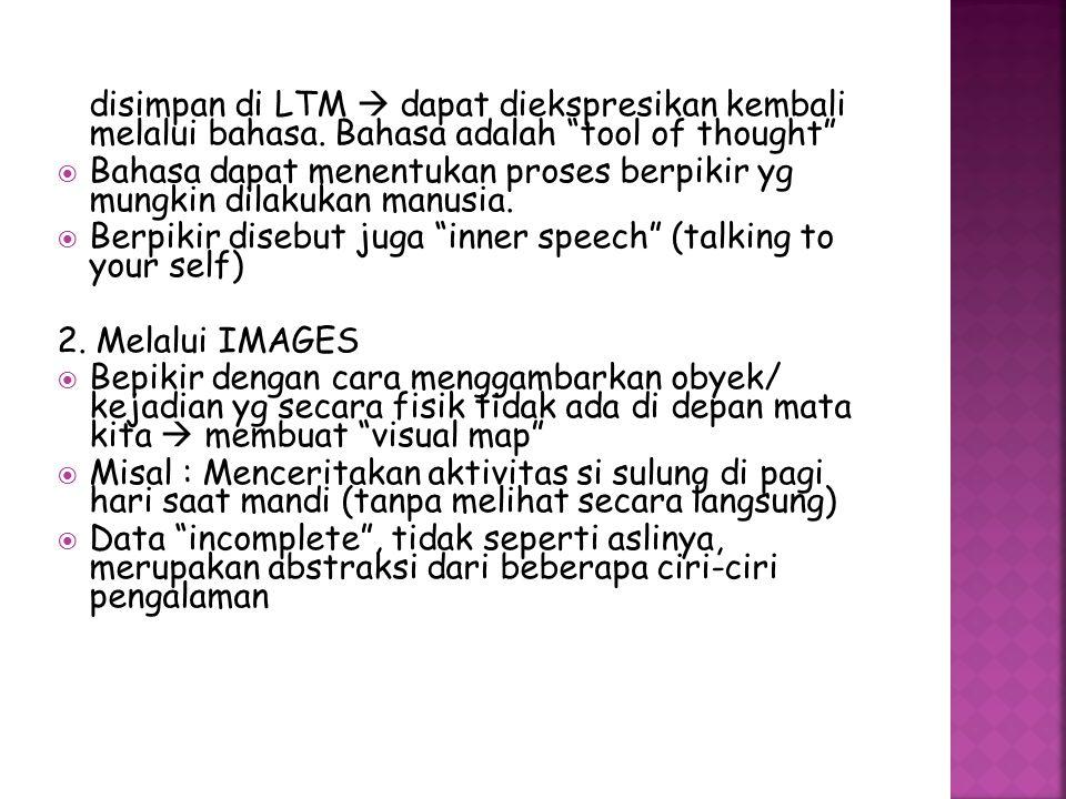 disimpan di LTM  dapat diekspresikan kembali melalui bahasa.