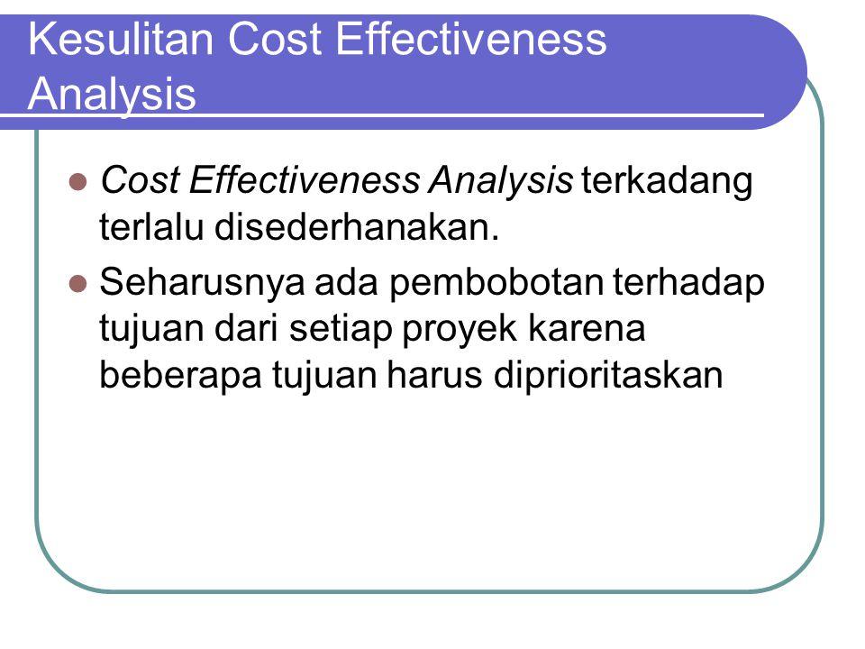 Kesulitan Cost Effectiveness Analysis Cost Effectiveness Analysis terkadang terlalu disederhanakan. Seharusnya ada pembobotan terhadap tujuan dari set